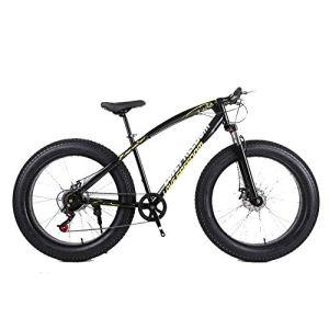 LIUJIE 18 Fat Bike, vélo de Montagne Cross-Country 26 Pouces 21 Vitesses de Montagne enneigée 4.0 Gros pneus Adulte équitation extérieure Vélo de Montagne Absorbant Les Chocs,Noir