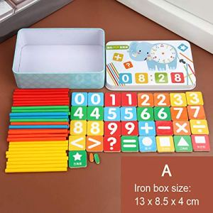 Alexsix Kids Counting Sticks Number Cards Learning Math Preschool Educational Toys with Box