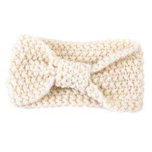 Chronstyle Baby Bandeau pour bébé en crochet avec nœud tricoté à la main Blanc