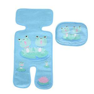 Coussin de Poussette pour Bébé Accessoires de Tapis de Soie D'été Universels à Cinq Points Tapis de Poussette pour Chariot(Grenouilles bleu)