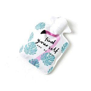 Hosaire Bouillotte en PVC Style Mignon Motif de Flamingo Bouteille d'eau Chaude d'injection d'eau Solide et Garder Chaud 21cm*14.5cm