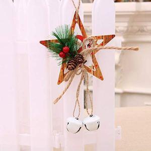 Jingranyou Cloche de Noël en Bois à Suspendre pour Porte d'arbre