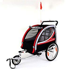 Dfghbnbaby Double siège Pliable Beton Remorques de vélo, Poussette Jogger for Convertis, avec 2-en-1 Canopy et Roues de 20 Pouces, for Les Enfants et Les Enfants (Couleur, Taille : Free Size)