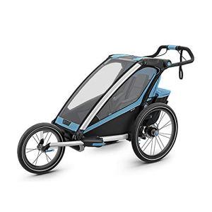 Dfghbnbaby Un siège Pliable Beton vélo Remorque, Poussette Jogger for Convertis, avec 2-in-1 Canopy for Les Enfants et Les Enfants (Couleur : Bleu, Taille : Free Size)