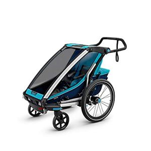 Susulv-baby 360 pivotant 2-en-1 Double Enfant Deux Roues de vélos Cargo remorque et Jogger avec 2 Harnais de sécurité Se convertit en Poussette/Jogger (Couleur, Taille : Free Size)