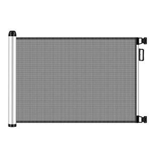 Meinkind Barrière de Sécurité Extensible pour Bébés et Chiens, Barrière de Sécurité Extensible et Enroulable d'Escaliers et Portes 0cm – 125cm x 80cm, Gris