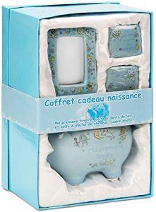BRUBAKER – Coffret cadeau Bébé/Naissance – 4 Pièces – Ma première tirelire, Boîte à dents de lait, Boîte à mèche de cheveux & Cadre photo – Bleu/Garçon – Français