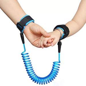 2.5M Anti-perdu Enfant Barcelet,Laisse Enfant Poignet de 360 ° Rotation Harnais de Sécurité, Bracelet anti-perte confortable pour bébé, Bleu