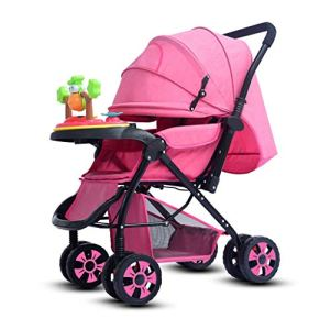 Baby carriage Poussette Pliante, Poussette légère, Buggy Voyage Compact, Un Pliable Main, Cinq Points Harnais, à Deux Voies, Grand for Avion (Color : Pink)