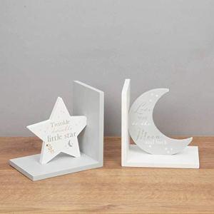 Bambino Serre-livres en forme d'étoile et lune Bleu pâle avec texte « Twinkle Twinkle Twinkle » et « Love You to The Moon »