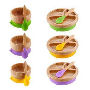 Creative Bol en bois avec ventouse, bol de nourriture, plaque anti-brûlure de fruits salade assiette de salle à manger outil de décoration de bureau