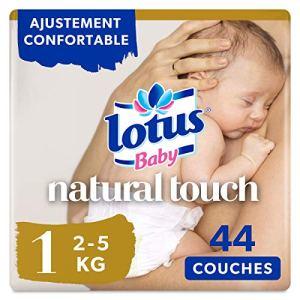 Lotus Baby Natural Touch – Couche Taille 1 (2-5 kg/Nouveau-Né) 1 paquet de 44 couches