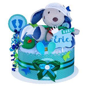 MomsStory – Gâteau à couches pour bébé – Pour naissance, baptême, baby shower – 1 bâtonnet (bleu-vert) avec peluche, bavoirs et plus encore.