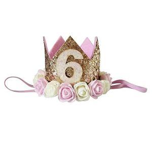 Pas cher Bande de cheveux, Filles paillettes tête accessoires bandeau bébé rose élastique numéro de Brithday couronne Prix réduit Soins bébé pour Saint-Patrick et Pâques