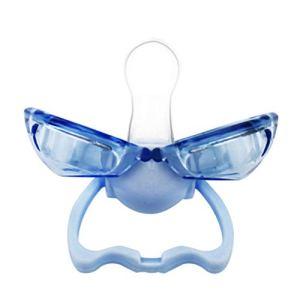 Qualité alimentaire silicone sucette pour les lèvres forme de la bouche infantile bébé tétine sucette bébé avec couvercle anti-poussière automatiquement fermé bleu