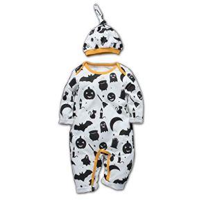 Sweat + chapeau à manches longues pour enfants d'Halloween, grenouillère pour bébé et nouveau-né Toddler Baby Kids Girls Boys Body + cap Outfit Set Clothes – Noir – 12-18 mois