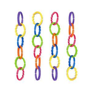 talinu chaîne de poussette pour enfant (24 pièces) – chaîne de jeu pour bébés, chaîne d´activitée pour poussette, jouet pour poussette bebe