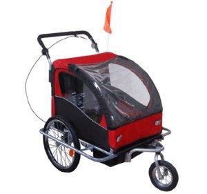 Unbekannt Homcom Remorque Enfant 2 en 1 à Fixer au vélo ou à Pousser pour Les Coureurs Rotation Possible à 360° Rouge/Noir
