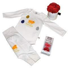 Coffret cadeau pour bébé de la marque BAMBINI Oster – Taille 44-92 – Composé de body, pantalon, 2 tétines et boîte à fleurs Grace