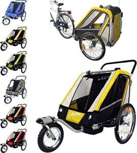 PAPILIOSHOP LEON Remorque à vélo poussette chariot pour 1 ou 2 entants
