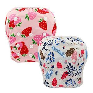 2PCS Bébé Swim Diaper – Tissu Étanche Réglable Nappy, Piscine Pantalon Piscine Diaper Cover, Lavable Réutilisable Couches pour Bébés,010
