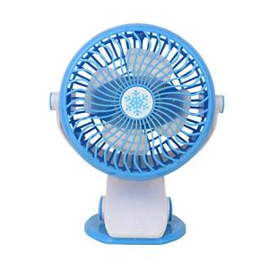 HEELPPO Petit Ventilateur De Poche Ventilateur Pince Ventilateur A Pince Ventilateur Clip Ventilateur De Poche USB Ventilateur Bureau Ventilateur Batterie Mini Ventilateur Portable Blue