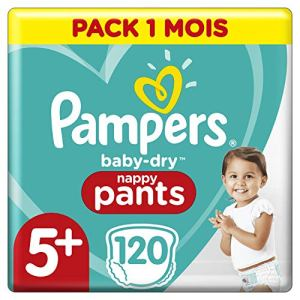 Couches Culottes Pampers Taille 5+ (12-17 kg) – Baby Dry Nappy Pants, 120 culottes, Pack 1 Mois