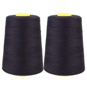NUOBESTY Fils à Coudre Noir Polyester Yard Bobine 2000 Mètres Fils pour Bricolage Artisanat Toile Draperie Bijoux Perles Tissu Quilting Fournitures 2 Pcs