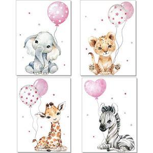 Artpin® P64 Posters décoratifs pour chambre d'enfant (fille) – Motif Animaux de la jungle + Ballon gonflable – Gris/Rose