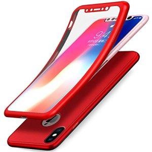 JAWSEU Coque iPhone X Etui iPhone X Silicone TPU Case, 360 degrés Full Body Protection Verre tempéré Film Protection 2 e 1 Ultra Mince Flexible Souple Gel Case Coque,Rouge