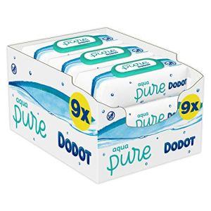 Dodot Aqua Pure – Lot de 9 paquets de 48 lingettes bébé contenant 99 % d'eau (432 unités)
