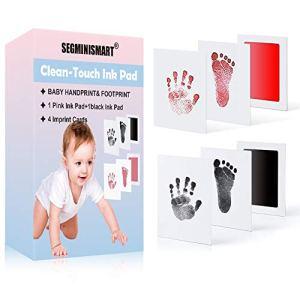 Empreinte de Main et de Pied Souvenir bébé,Bébé empreinte de la main empreinte photo,Empreinte Pieds et Mains Bébé Tampons Kit,Parfait pour Souvenir Familial Cadeau de Baptême Bébé et Registre