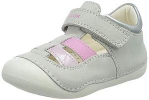 Geox B TUTIM A, Sandales Bout Ouvert Bébé Fille, Blanc (White/Pink C0406), 22 EU