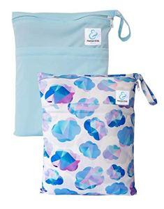 Maman et bb Nature – Lot 2 Sacs imperméables pour couches lavables 2 poches – Blue Dream