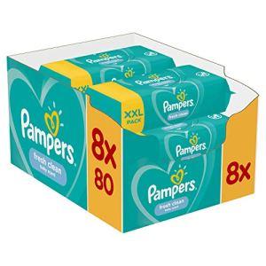 Pampers – Fresh Clean – Lingette bebe – Lot de 8 Paquets de 80 (640 Lingettes)