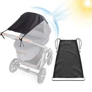 Pare-Soleil Universel pour Poussette Canopy Auvent Pare-Soleil pour Landau Anti-UV Protection Soleil Réglable pour Nacelle Landau Couffin (Noir)
