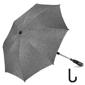 RIOGOO Parasol pour poussette Parasol Universal 50+ UV Parasol de protection solaire pour bébé et nourrisson avec poignée de parapluie pour landau, poussette, poussette et poussette-Gris