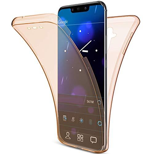 Saceebe Compatible avec Huawei Mate 20 Lite Coque 360 Intégrale Avant et Arriére Etui Housse Transparent Silicone 360 Degrés Gel TPU Souple Full Body Coque de Protection AntichocOr Rose