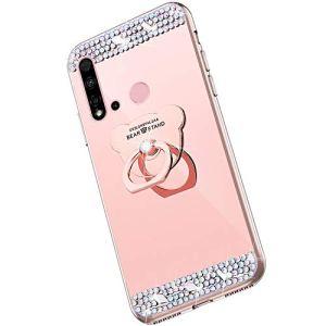 Saceebe Compatible avec Huawei P20 Lite 2019 Coque Glitter Paillette Brillant Strass Diamant Bling Clear View Miroir Coque Étui Silicone TPU Housse Protection avec Anneau Support,Or Rose