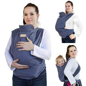 Viedouce Porte bébé Ergonomique,Coton Echarpe de Portage,Léger Respirant Porte Bebe Physiologique Convient aux Nouveau-nés,Nourrissons de 3 à 36 Mois (Bleu)