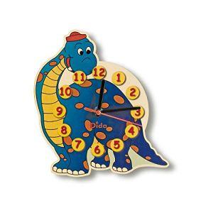 Dida – Horloge Murale en Bois Enfant – Dinosaure – Horloge en Bois pour Chambre d'enfant