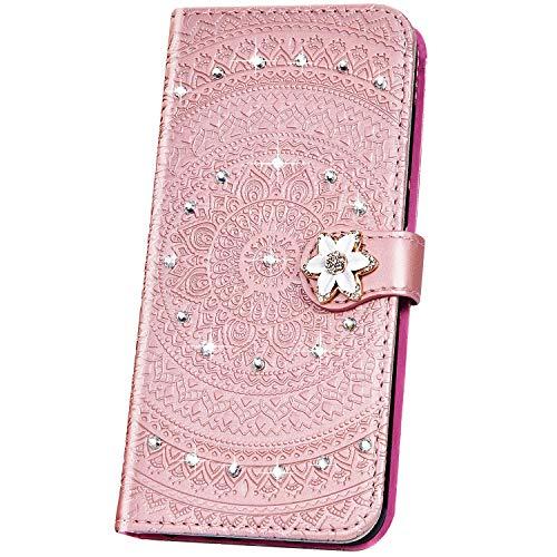 JAWSEU Compatible avec Huawei Mate 20 Lite Coque Pochette Portefeuille Housse Etui à Rabat Cuir Mandala Fleur Glitter Brillante Strass Stand Magnétique Flip Wallet Case,or rose