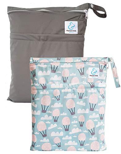 Maman et bb Nature – Lot 2 Sacs imperméables pour couches lavables 2 poches – Balloon Grey