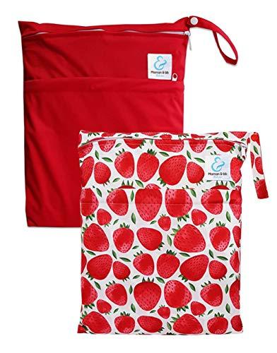 Maman et bb Nature – Lot 2 Sacs imperméables pour couches lavables 2 poches – Fraises