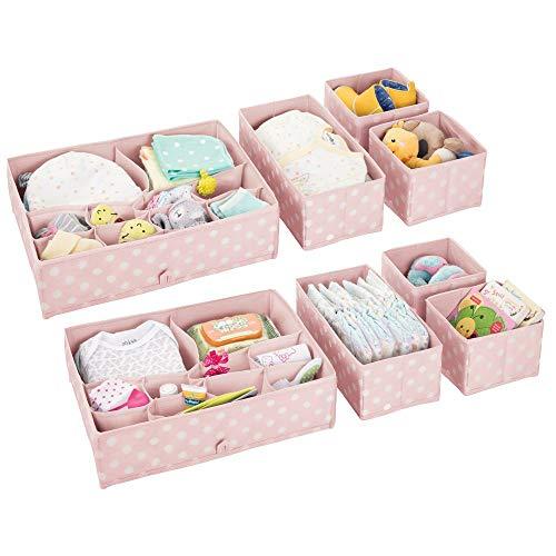 mDesign boite de rangement plastique (lot de 4) – bac de rangement à compartiments pour chambre d'enfant – rangement tiroir pour vêtements, couches, lotions, cosmétiques, écharpes, etc. – rose/blanc