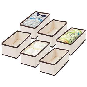 mDesign Boite de Rangement pour Chambre d'Enfants, Salle de Bain, etc. (Lot de 6) – Module de Rangement Pliable – Boite en Tissu de Fibres synthétiques – Couleur crème/Marron foncé