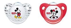 Nuk 10175209 Disney Mickey Mouse Trendline Lot de 2 tétines en silicone sans BPA Rouge 0-6 mois