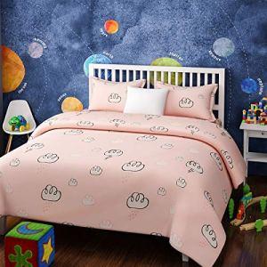 4everWithU Shandaar Enfants Coton Résumé RAININING Nuages Imprimer Rose et Blanc Set tenture (Lit Double) FZC # 15