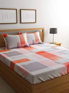 4everWithU Shandaar Mode Résumé Brush Strokes Imprimer Blanc et Orange Bedsheet Set FZC # 82