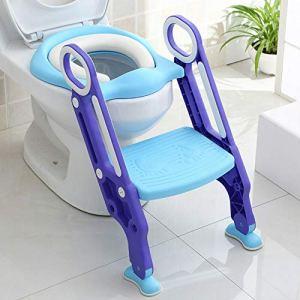 Aohuada Pot d'apprentissage de la toilette + escalier pour enfant avec siège de toilette pliable pour enfant (bleu + violet)